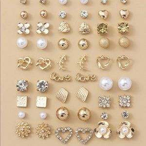 New 30 Pairs of Rhinestone & Faux Pearl Earrings